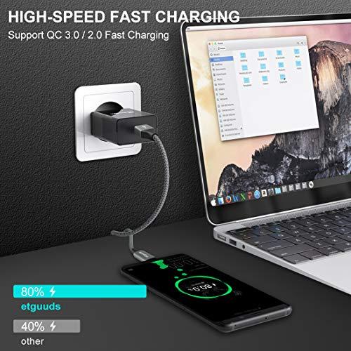 etguuds USB C Kabel Kurz [ 30cm/0.3m, 2Stück ], Langlebige Nylon USB Typ C Ladekabel, 4.2A Schnellladekabel für Samsung Galaxy S20 S10 S9 S8 Plus S10e S10 lite, A50 A51 A40 A41 A71, Xiaomi, Sony, LG