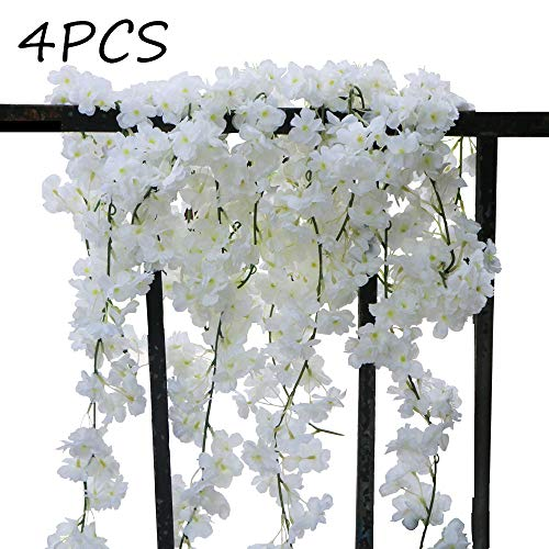 AKSIPO 4Pcs Artificial Cherry Blossom Wall Hanging Cherry Vine Silk Floral Garland White Flowers String Fake Flowers Garland for Home Wedding Arch Outdoor Garden Wall Decor Party Decoration