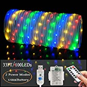 LED Fairy Rope String Lights - Liwiner 2 in 1 Battery OR USB Cable Operated 33FT 100 LED String Light with Remote Timer 8 Mode Dimmable Strip Lights for Garden Patio Party Christmas Tree Outdoor/Indoor Decoration, RGB