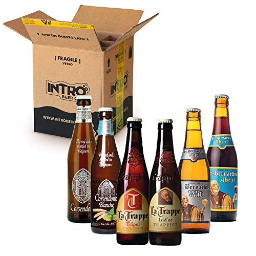 INTRO BEER CLUB Box Degustazione Birre Artigianali - Selezione di Birre dal Mondo'Le Trappiste' - Kit con 6 Bottiglie da 33cl - Confezione Idea Regalo Uomo