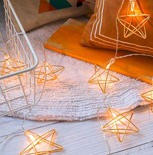 Accu met geometriche, 3M 20 LEDs Diamond Fairy String Lights Geometrica Rose Gold Metal Fairy Lights voor Kerstmis
