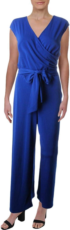 Lauren Ralph Lauren Womens Surplice Wide Leg Jumpsuit bluee M