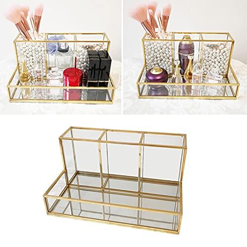 Chytaii - Joyero de cristal dorado para pendientes, collar, caja transparente decorativa, caja expositora de maquillaje, para collares y pulseras