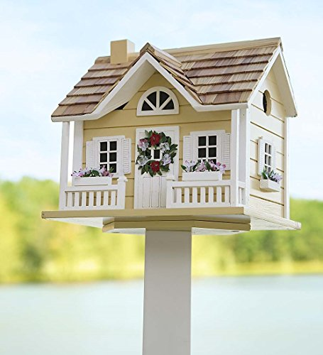 Plow & Hearth Wreath Cottage Birdhouse, in Yellow