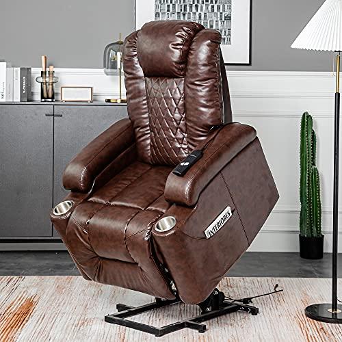 Silla reclinable eléctrica, para ocio, silla reclinable de piel sintética, con 2 bolsillos laterales y portavasos para ancianos, papá, mamá, abuelo, abuela, regalo (marrón)