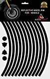 Autodomy Confezione Adesivi Set Completo di Cerchi Strisce Rifrangenti Riflettenti per Moto per 2 Ruote da 15' a 19' Pollici Design Sportivo (Nero Rifrangenti, Larghezza 10 mm)