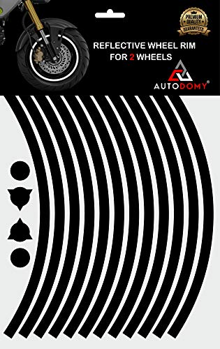 Autodomy Pegatinas Llantas Moto Reflectante Sport Juego Completo para 2 Llantas de 15' a 19' Pulgadas (Negro Reflectante, Ancho 10 mm)