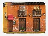 Alfombra de baño América, calles de Cartagena con fachada de edificio de colores vibrantes, paisaje caribeño Columbia, alfombra de felpa decorativa para baño con respaldo antideslizante, naranja marró