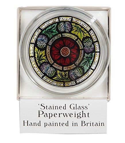 Presse-papier décoratif peint à la main en verre teinté rose écossaise et chardon