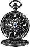 HYLX Reloj de Bolsillo Reloj de Bolsillo Unisex Negro Trébol de Cuatro Hojas Cuerda manualperspectiva Cubierta Inferior Reloj mecánico Reloj de Bolsillo Negro Vintage Reloj de Bolsillo