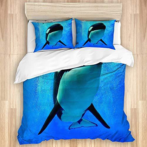 SUGARHE Bettwäsche Set,Blauer Schwertwal Killerwal, der unter Wasser mit Blasen Weltmeer Orlando San Diego schwimmt,1 Bettbezug 200x200cm+2 Kopfkissenbezug 50x80cm