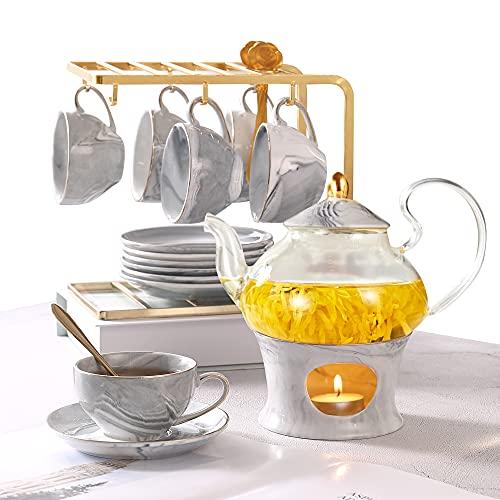 21 Pcs Tea Set of 6 for Girls, Handcraft Gray Porcelain Tea Party Set for Kids/Child, Real Glass Teapot/Tea Pot Set with Warmer for Little Girls, Ceramic/China Tea Cup Set/Tea Gift Set with 6 Saucers