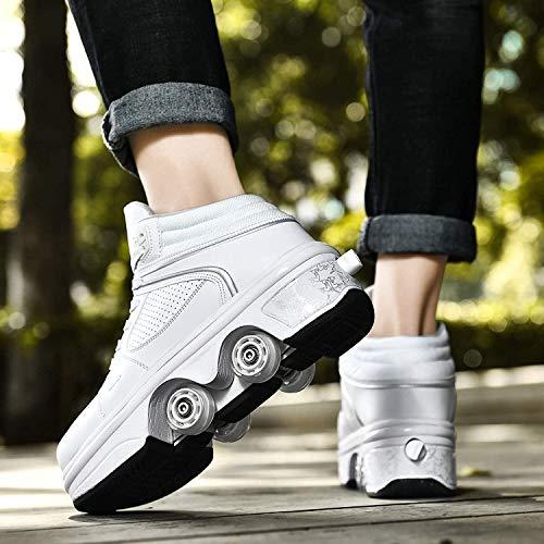 SHANGN Zapatos con Ruedas Mujer Patines Niña Patines En Línea 2 En 1 Zapatos Deportivos con Luces Led Zapatillas con Ruedas,White High top-EU38