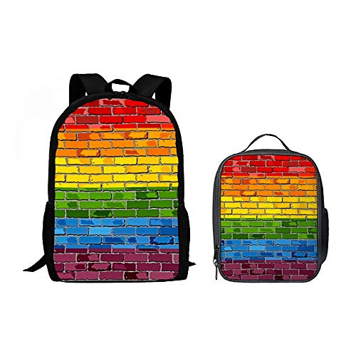 SARA NELL Gay Pride Rainbow Bisexual Flag on A Brick Wall Backpack Teens Boys Girls School Bookbag with Lunch Bag for Middle School,High School,College Students