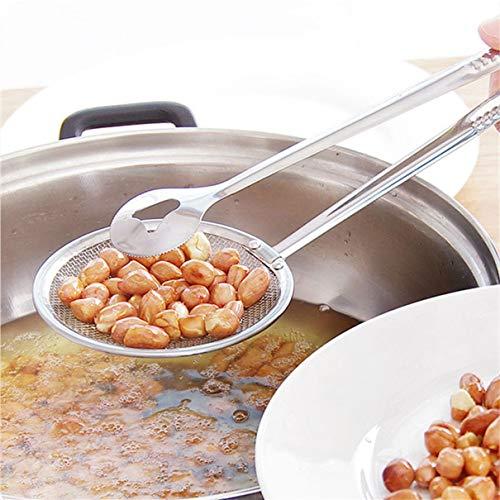 Hanxi Multifunktionale Abtropffläche, Edelstahl-Küchensiebfilter Filterlöffel Gebratener Essenslöffel Ölablass-Speisenklammer Gebratener Hähnchenkeulenfilter (Silber)