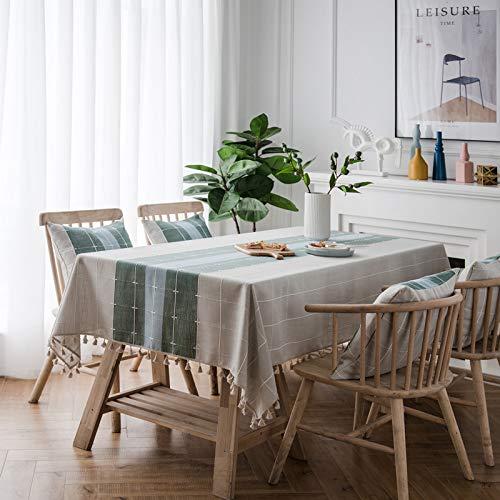 CYYyang Mesa de Comedor Lavable Cubierta de Lino de Tela con Borla de Lino y algodón de imitación de Corredor de Mesa a Rayas a Cuadros Impermeable