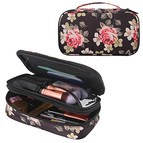 Makeup Brush Cosmetic Organizer Portable 2 layer Small Makeup Pouch Holder PU Leather Case with Carry Handle for Travel (Peony Pattern)