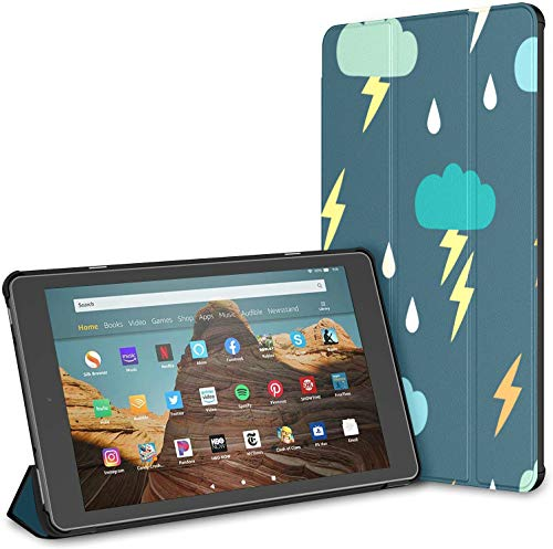 Case for All-New Amazon Fire Hd 10 Tablet (7th and 9th Generation,2017/2019 Release),Slim Folding Stand Cover with Auto Wake/Sleep for 10.1 Inch Tablet, Simple Childrens Doodle Pattern Clouds