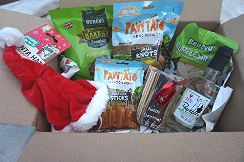 Paradise Pets VEGAN VEGETARIAN VEGGIE CHRISTMAS DOG TREAT HAMPER BOX WITH FRESH BREATH BISCUITS OR TUBES TEETH CLEANING CHEWS XMAS HAT AND PAWSECCO PET HOUSE DOG WINE