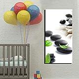 SQSHBBC Leinwand Stein Und Grünes Blatt HD Print Gemälde Auf Leinwand Home Dekorative Wandkunst Bilder Für Wohnzimmer Schlafzimmer 50x100 cm ungerahmt