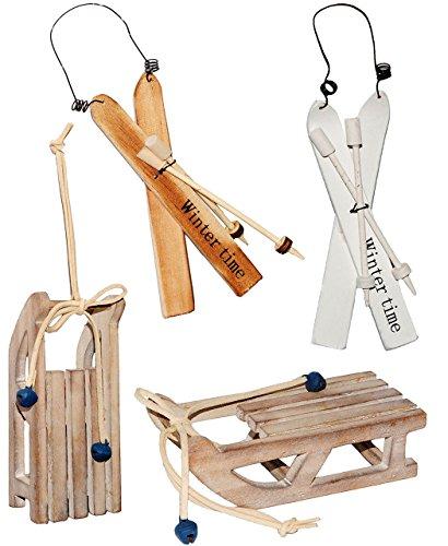 alles-meine.de GmbH 1 Stück _ Deko -  Schlitten  - aus Holz - mit Glöckchen - 13,5 cm - Miniatur / Diorama - Weihnachtsdeko / Winter - Winterurlaub / Weihnachten - Holzschlitte..