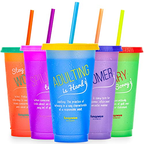 Color Changing Cups with Lids and Straws for Adults - 5 Reusable Tumblers with Lids and Straws In Bright Colors, 24oz Plastic Iced Coffee Cup Set, Durable & Splash-Proof Water Tumbler with Straw