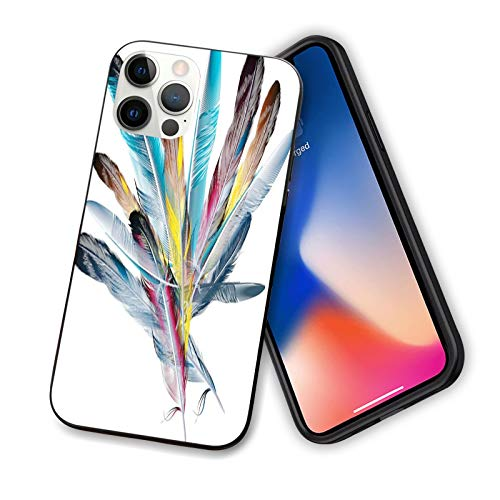 Floral Compatible with New iPhone 12 Series 2020 Case,Inspirational Bouquet of Types of Colorful Retro Style Quill Pen Feather,Design Flexible Slim TPU Case Design for iPhone 12 mini 5.4'Multicolor