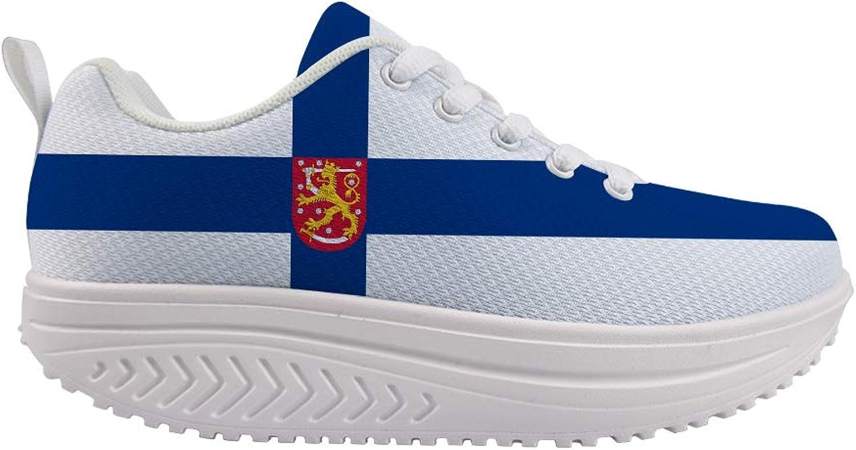 Owaheson Swing Platform Toning Fitness Casual Walking shoes Wedge Sneaker Women Finland Flag National Emblem