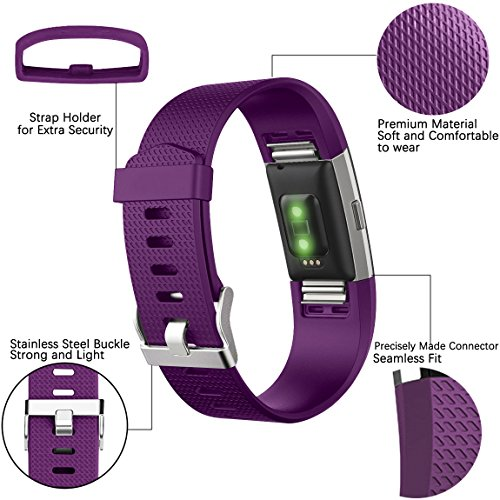 Maledan Bands Replacement Compatible with Fitbit Charge 2, 3 Pack, Teal/Plum/Lavender, Large