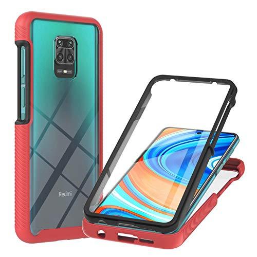 TTNAO Compatible con Xiaomi Redmi Note 9S/9 Pro/9 Pro Max, funda 360 Full Body Protection Hard Shell Protector de pantalla incorporado PET Clear Cover a prueba de golpes anti-arañazos (rojo)