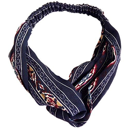 TOOGOO Accessoires De Cheveux De Femmes Turban Bandeau Croise Raye Tordu Geometrique Couvre-Chef Bandeaux De Cheveux Elastiques De Femmes Marin