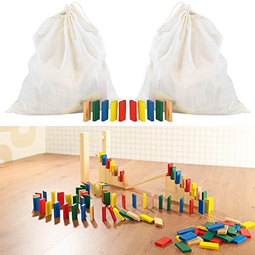 Playtastic Domino Holz: 2er-Set 263-teilige Domino-Sets mit Holzsteinen & Action-Elementen (Kinder Domino Spielzeug)
