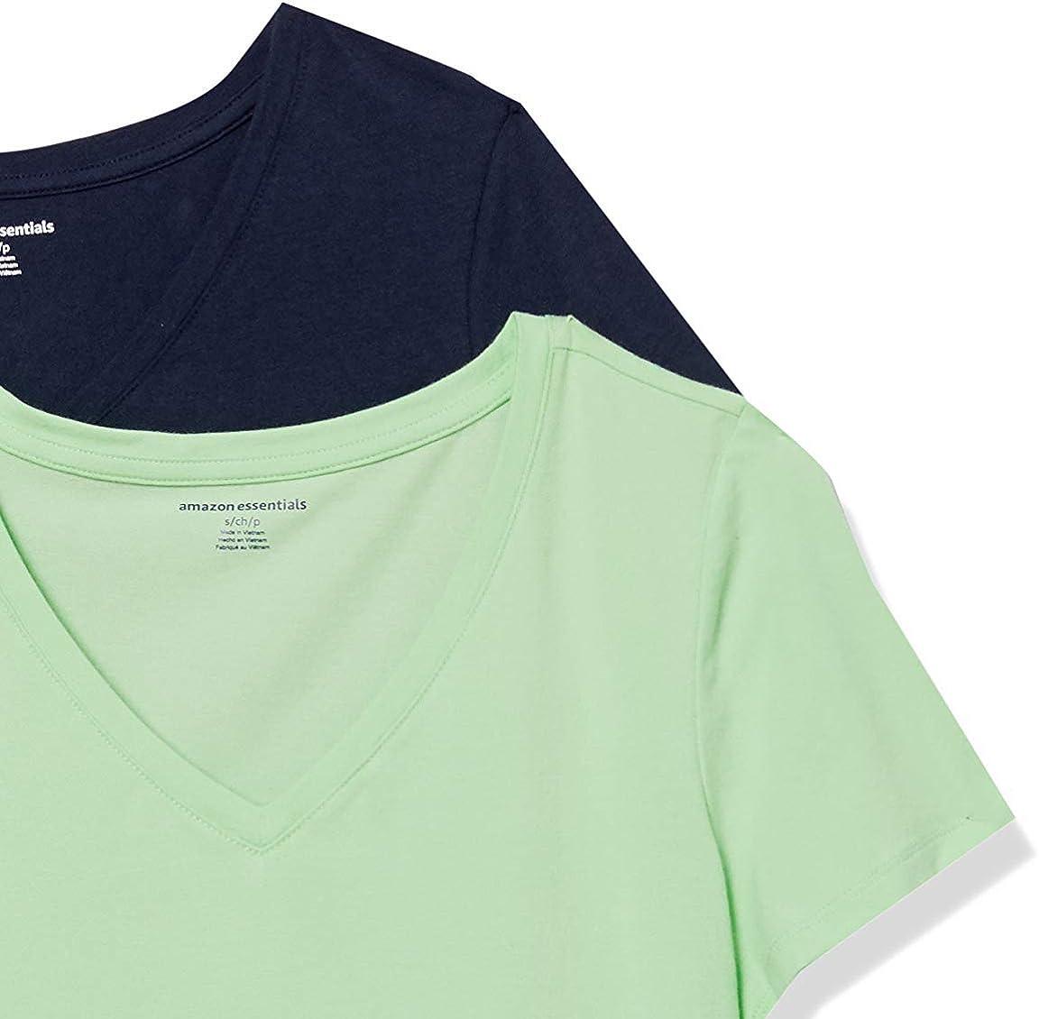Amazon Essentials Women's 2-Pack Classic-Fit Short-Sleeve V-Neck T-Shirt
