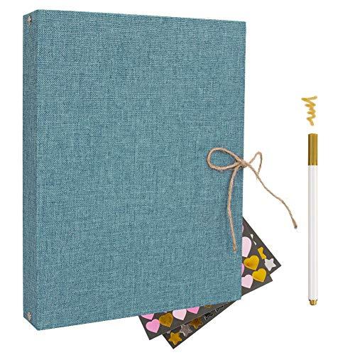 Album Scrapbook,Album de Fotos, Libro de visitas Album de Fotos Boda,con 60 páginas Negras 1pcs Color metálico Pluma para el Regalo de cumpleaños y Dar de mujuer Regalo