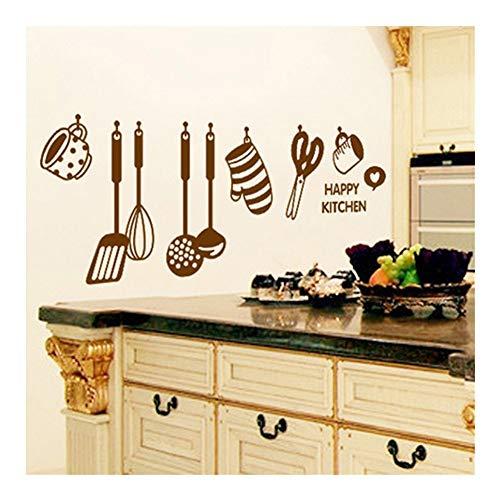 WANGYIYI Pegatinas de pared de vinilo a prueba de agua, calcomanías de pared extraíbles de PVC, icono de utensilios de cocina, pegatina de pared para nevera para decoración del hogar, cocina, restaura
