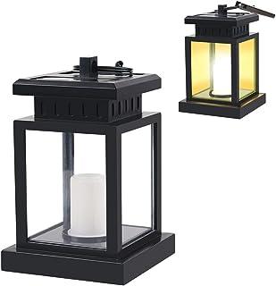 Solar Lantern Hanging Light Outdoor LED Lamp Candle Effect Path Garden Auto Light Sensor Table Yellow Warm Anti-Rust Metal...