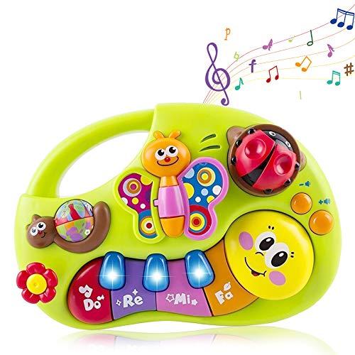 Wishtime Tier Klavier Keyboard Kinder Spielzeug HL927 mit Bunte Tiere, Melodien und blinkende Lichter Einschließlich 2 Modi und 2 Lautstärkeregler für Schlafzimmer zu Spielplatz