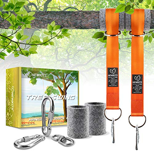 NEWKITS Tree Swing Straps Hanging Kits, Holds max 4400lbs, 5ft Extra Long Hammock Straps, 2 Locking Carabiner Clip, 2 Tree Protectors and 1 Swivel Eye Hook Perfect for Tree Swing and Hammocks