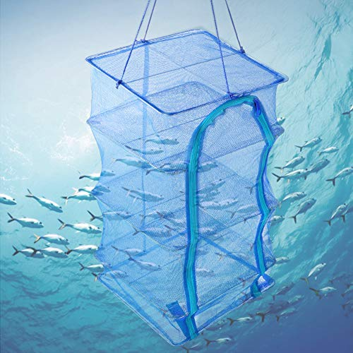 Mesh Drying Net, PE Collapsible Mesh Hanging Drying Net Anti-Fly Cage Dry Food Storage Carrying Bag for Environmentally and Scientifically Protect Dry Dried Fish and Dried Vegetables (35cm)