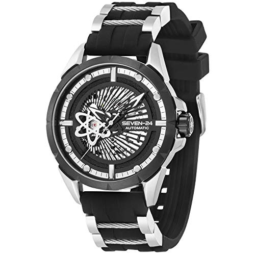 Seven-24 Herren Automatik Armbanduhr Atom Schwarz/Silber SV1259JSTB-06