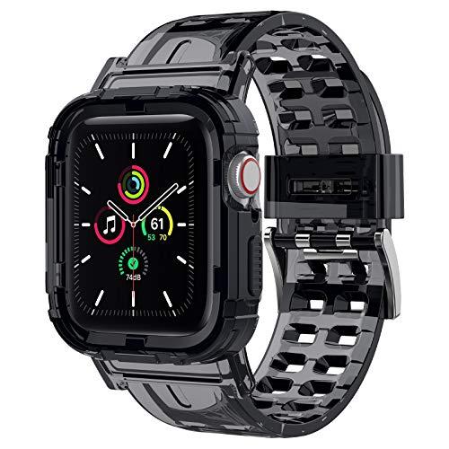 iMangoo Cinturino Compatibile con Apple Watch 42mm/44mm,Crystal Soft TPU Cinturini di Ricambio Compatibile con Apple Watch Serie SE 6/5/4/3/2 42mm/44mm, Cinturino per iWatch per Uomo e Donna - Nero