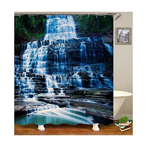 KnSam Duschvorhang mit 12 Vorhanghaken Wasserdicht Anti Schimmel Waschbar Wasserfall 3D Wasserwürfel Bad Vorhang für Badezimmer Badewanne Badezimmer-Vorhänge 165 x 180 cm