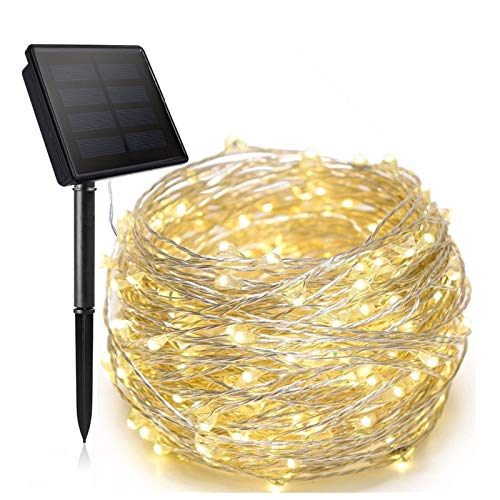 Tira de luces LED solares, paquete de 2 luces solares de hadas, 8 modos de luces de alambre de cobre impermeables para jardín al aire libre, patio, fiesta, decoración de bodas,Warm white,10M 100LED