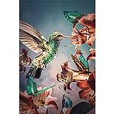 ZHJJD Pájaro Flores Decorativo Animal Cartel Color Arte de la Pared Pintura Negro Blanco Estética Impresiones Habitación de los niños Decoración del Dormitorio 60x80cm Sin Marco