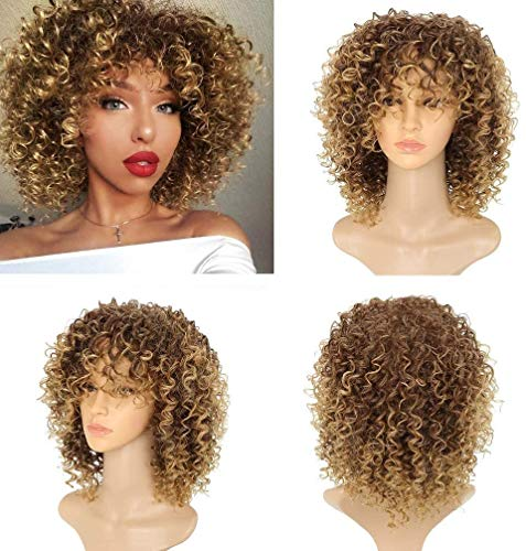 Short Afro Wigs For Black Women Kinky Curly Full Wigs Synthetic Heat Resistant Wigs For African Women With Wig Cap Brown Mixed Blonde