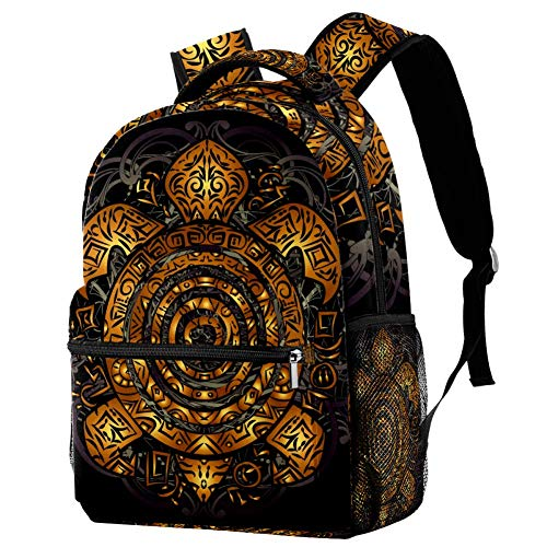 LORVIES - Mochila de hombro con diseño de tortuga marina tribal polinesia dorada para estudiantes escolares, bolsas de viaje