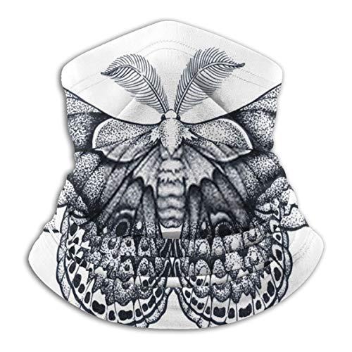 Miedhki verstellbare Sturmhaube Schmetterling Tattoo Kunst Dotwork Tattoo Hyalophora Cecropia CecrFace Sturmhaube für Männer & Frauen für Outdoor Ski Laufen Radfahren Motorrad bei kaltem Wetter Winter