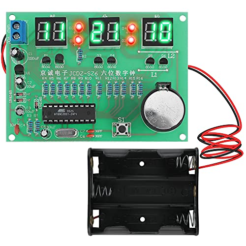 Kit Modulo Orologio Elettronico Fai-da-te Seamuing Display a LED Digitale Scheda di Apprendimento del Progetto di Saldatura PCB con Supporto Batteria per Principianti di Saldatura