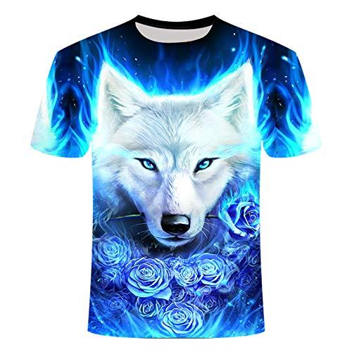 Hombre T Shirt, Cabeza de Lobo Camisetas, Impresas Hip Hop Streetwear Tops,Blue 1,XXXXXX Large