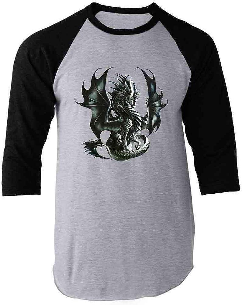 Obsidian Black Dragon by Ruth Thompson Art Raglan Baseball Tee Shirt